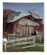 Old Forlorn Decrepid Wooden Barn Fleece Blanket