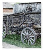 Old Freight Wagon - Montana Territory Fleece Blanket