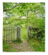 Old Garden Gate Fleece Blanket