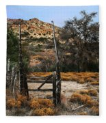 Old Gate At Oak Flats Fleece Blanket