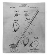 Old Golf Club Patent Illustration Fleece Blanket
