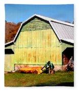 Old Green Barn South Of Rosman Fleece Blanket