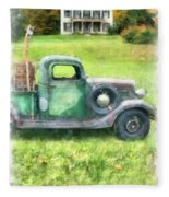 Old Green Pickup Truck Fleece Blanket