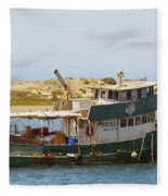 Old Green Scow Morro Bay Harbor Fleece Blanket