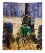 Old Green Tractor On The Farm Fleece Blanket