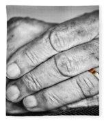Old Hands With Wedding Band Fleece Blanket