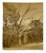 Old Haunted Tree In Sepia Fleece Blanket