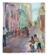 Old Havana Street Life - Sale - Large Scenic Cityscape Painting Fleece Blanket