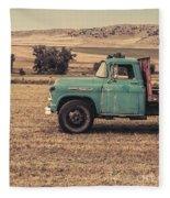 Old Hay Truck In The Field Fleece Blanket