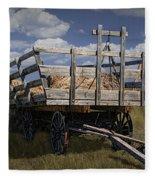 Old Hay Wagon In The Prairie Grass Fleece Blanket