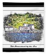 Old Homestead By The Sea Fleece Blanket