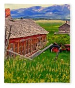 Old Homestead Near Townsend Montana Fleece Blanket