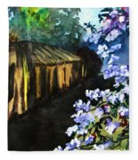 Old House And New Flowers Fleece Blanket