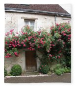 Old House Covered With Roses Fleece Blanket