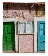 Old House Doors In Lisbon Fleece Blanket