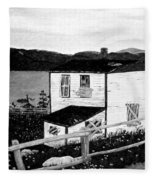 Old House In Black And White Fleece Blanket