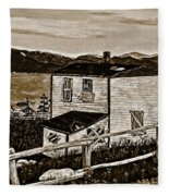 Old House In Sepia Fleece Blanket
