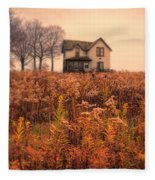 Old House In Weeds Fleece Blanket