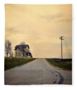 Old House On Country Road Fleece Blanket