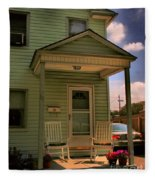 Old Houses - New Jersey - In The Oranges - Green House With Flower Pots And Rocking Chairs - Color Fleece Blanket