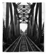Old Huron River Rxr Bridge Black And White  Fleece Blanket
