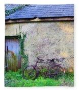 Old Irish Cottage With Bike By The Door Fleece Blanket