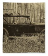 Old Jalopy Behind The Barn Fleece Blanket