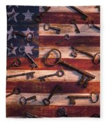 Old Keys On American Flag Fleece Blanket