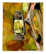 Old Lantern In Camo Fleece Blanket