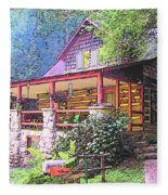 Old Log Cabin Home Fleece Blanket