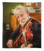 Old Man And Fiddle Fleece Blanket