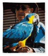 Old Man And His Bird Fleece Blanket