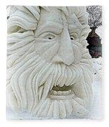 Old Man Winter Snow Sculpture Fleece Blanket