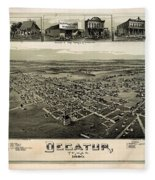 Old Map Of Decatur Texas 1890 Fleece Blanket