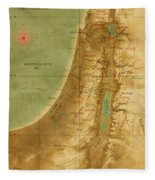 Old Map Of The Holy Land Fleece Blanket