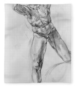 Old Masters Study Nude Man By Annibale Carracci Fleece Blanket