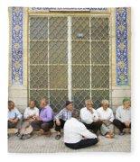 Old Men Socializing In Yazd Iran Fleece Blanket