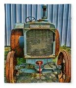Old Metal Wheeled Tractor Hdr Fleece Blanket
