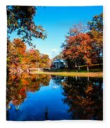 Old Mill House Pond In Autumn Fine Art Photograph Print With Vibrant Fall Colors Fleece Blanket