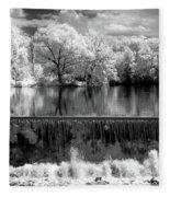 Old Mill Pond In Infrared Fleece Blanket