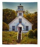 Old Mission Point Light House 02 Fleece Blanket