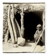 Old Navajo At His Hogan Fleece Blanket