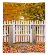 Old New England White Picket Fence Fleece Blanket