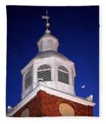 Old Otterbein Umc Moon And Bell Tower Fleece Blanket