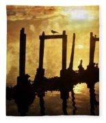 Old Pier At Sunset Fleece Blanket