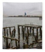 Old Pier In Siglufjordur Fleece Blanket