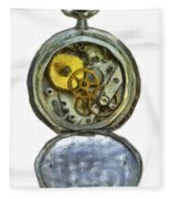 Old Pocket Watch Fleece Blanket