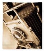Old Press Camera Fleece Blanket by Edward Fielding