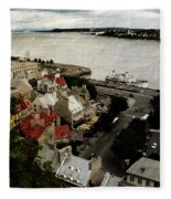 Old Quebec City By St.lawrence Fleece Blanket
