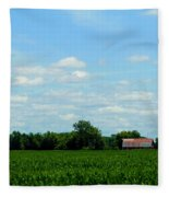 Old Red Barn And Fields Fleece Blanket